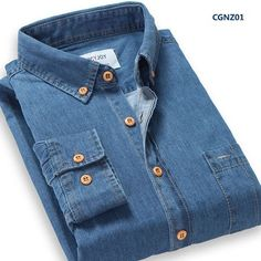 Autumn New Men Casual Shirts Cotton High Quality Collar Button-Up Long Sleeve Slim Fit Men Denim Shirt With Pocket