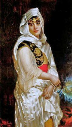 """""""Jeune femme turque à l'éventail""""  by Giovanni Battista Costa"""
