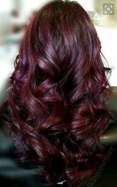 Burgundy Plum Highlights Dark Burgundy Hair Color, Teal Hair Color, Hair Color Auburn, Plum Color, Pelo Color Vino, Cherry Hair Colors, Dark Cherry Hair, Cherry Red, Blond Beige