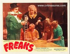 """Horror Movie Poster highly controversial """"Freaks"""" original vintage lobby card 1949 release. See at www.cvtreasures.com, Conway's Vintage Treasures    $1250"""