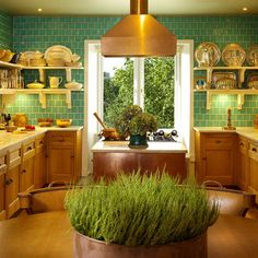 bright turquoise, wood warm color, kitchen layout, kitchen idea, tile, dream kitchen, colorful kitchens, kitchen pictures, kitchen decorations, kitchen designs