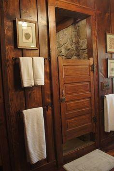 reclaimed school bath door for shower door, rock shower, hemlock paneling bathroom in place of swinging door in master bath Rustic Shower Doors, Rustic Bathroom Shower, Bathroom Doors, Rustic Bathrooms, Bathroom Ideas, Bathroom Stall, Bathroom Vanities, Baby Bathroom, School Bathroom