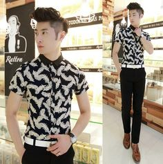2014 Summer Men's Short-sleeve Shirt Charming Vintage Print Good Quality Breathable Hot Style $25.00