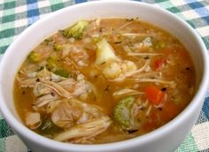 Simple + Delicious Chicken Vegetable Rice Soup. Steamy. Nourishing. Satisfying. 215 calories + 5 Weight Watchers Points Plus. A complete meal in a bowl.  http://simple-nourished-living.com/2012/01/slim-delicious-chicken-vegetable-rice-soup-recipe/