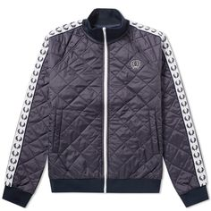 FRED PERRY LAUREL WREATH FRED PERRY X LAVENHAM QUILTED TAPED TRACKTOP. #fredperrylaurelwreath #cloth #