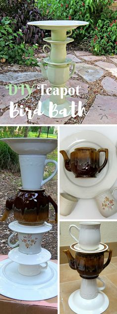 Check out the tutorial: #DIY Teapot Bird Bath #garden #crafts                                                                                                                                                                                 More