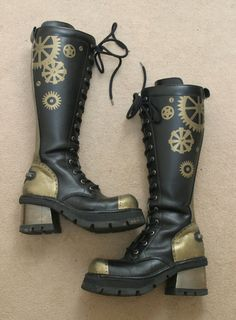 Steampunk painted leather clockwork cog boots by ~wraithwitch on deviantART