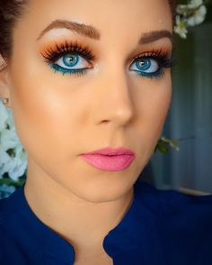 Orange and teal makeup with the Morphe 35O palette