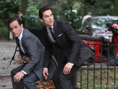 "An odd moment between Peter Burke (Tim DeKay) and Neal Caffrey (Matt Bomer), captured while filming ""White Collar."""