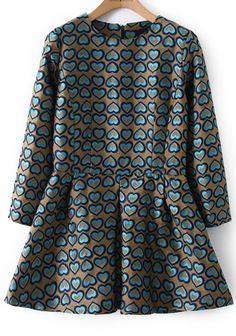 Khaki Long Sleeve Hearts Print Dress