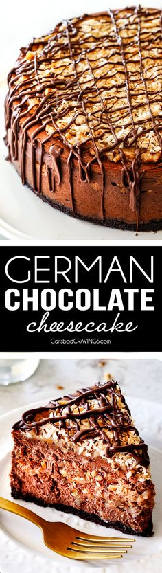 Show stopping German Chocolate Cheesecake AKA the best German Chocolate anything! The rich and creamy chocolate cheesecake is stuffed with a hidden layer of caramely Coconut Pecan Frosting and another layer on top!  #christmas #dessert