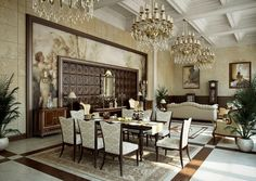 Traditional Cream Gold Dining Room -fresco painting in background idea