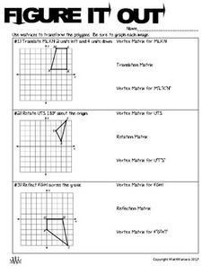 """This activity uses Matrices to make transformations on geometric figures. Students will Translate, Rotate, Reflect, and Dilate triangles/quadrilaterals with matrix transformations. This is a great activity to use on Day 1 of Matrix Transformations. **This is a great companion to """"Take Note: Transformations with Matrices""""**"""
