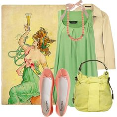 I can't pull off the pinks or the yellow, but this is adorable anyway.  Plus the art it's based off of is from the Art Nouveau movement.
