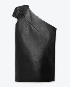 Saint Laurent (YSL) - Original Saint Laurent Asymmetrical Dress in Black Leather
