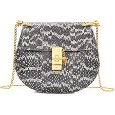 Chloé Drew Small Chain Watersnake Bag ($2,125) ❤ liked on Polyvore featuring bags, handbags, shoulder bags, chloe, purses, printed, chain shoulder bag, clasp purse, python handbag and python purse