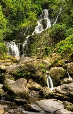 Torc waterfall in Killarney national park in County Kerry, Ireland. A lovely waterfall at the foot of torc mountain.