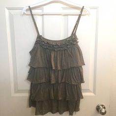 Express Tops - Moss Green Designed Ruffle Layer Cami Top