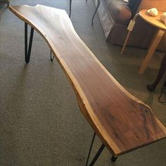 Image of Repurposed Live-Edge Coffee Table Bench