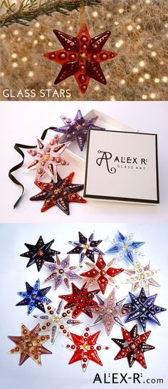 This handmade star is fused from layers of glass and finished with gold detail. Hang a star and illuminate with fairy lights to create an enchanting atmosphere. #celebration www.alex-r.com
