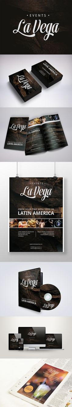 Corporate identity, poster and product design for the Latin American company La Vega Events specialized in business and private event planning.   Check it out on my Behance portfolio: https://www.behance.net/gallery/20962929/La-Vega-Events
