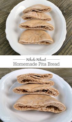 Homemade whole grain pita bread is surprisingly easy to make and fairly quick, tasting nothing like the cardboard-store counterparts. Pita Recipes, Bread Recipes, Baking Recipes, Whole Food Recipes, Frugal Recipes, Dinner Recipes, Yeast Bread, Bread Baking, Whole Wheat Pita Bread