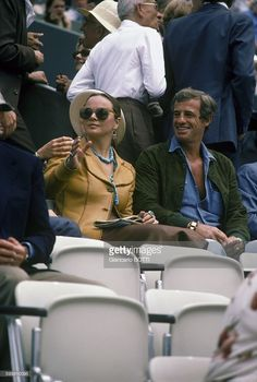 French actor Jean-Paul Belmondo with partner Italian actress Laura Antonelli at Roland Garros in Paris, France, in June 1978 .
