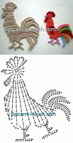 Crochet Doily Patterns 83343 I just saw these little flat animals very easy to make and which can decorate your creations: sweaters, blanket, baby nest…. draw and crochet! Filet Crochet, Art Au Crochet, Crochet Birds, Crochet Amigurumi, Easter Crochet, Crochet Diagram, Thread Crochet, Crochet Motif, Irish Crochet