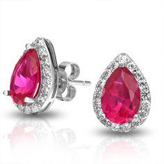 925 Silver Stud Earrings Crown Set Teardrop CZ Red Ruby Color