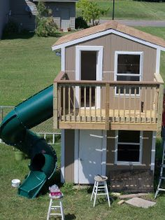 123 Busy Bees: Outdoor Project: Shed/Playhouse Part 5 Outside Playhouse, Backyard Playhouse, Build A Playhouse, Wooden Playhouse, Backyard Playground, Simple Playhouse, Playhouse Ideas, Backyard Ideas, Outdoor Playhouses