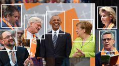 Kirchentag in Berlin: Martin Schulz, Sigmar Gabriel, Heinrich Bedford-Strohm, Barack Obama, Angela Merkel, Ursula von der Leyen, Thomas de Maizière. Quelle: dpa Picture-Alliance
