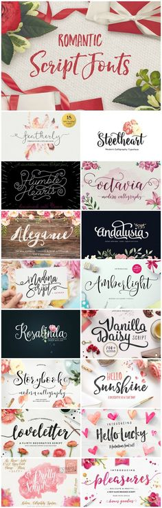 30 Romantic Script Fonts for Valentine's Day and Beyond ~~ Looking for a delicate, script font for your next print design project? Whether you're working on a s Fancy Fonts, Cool Fonts, Pretty Fonts, Creative Fonts, Beautiful Fonts, Calligraphy Fonts, Typography Fonts, Calligraphy Alphabet, Wedding Typography