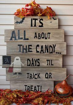 halloween crafts..Trick or Treat Countdown Sign halloween crafts