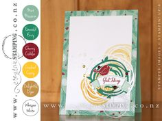 Mint Macaron, Emerald Envy, Cherry Cobbler, Crushed Curry, Delightful Dijon, Whisper White | Swirly Bird Stamp Set + Swirly Scribbles Thinlits Dies Bundle | www.creativestamping.co.nz | Stampin' Up! | #StampinUpColorCombos