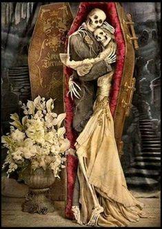 ❤️'Til death do us part❤ Skeleton Love, Skeleton Art, Dark Fantasy Art, Dark Art, Day Of The Dead Art, Skull Artwork, Sugar Skull Art, Chicano Art, Creepy Art