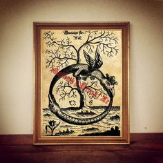 Ouroboros print on antiqued paper. Amazing occult home decor in vintage style. Rustic and esoteric decoration for your house!  Colours to choose: - ecru - dark antique  Standard size: 8.3 x 11.7 inches / 21 x 29.7 cm (A4) Some prints are available in A3 size 11.69 x 16.53 inches / 29.7 x 42 cm. This option will be visible above add to chart button  Very good quality ink. Edges of the paper can be little tattered, because it is hand-made product!  Comes without frame. Prints are packed flat…