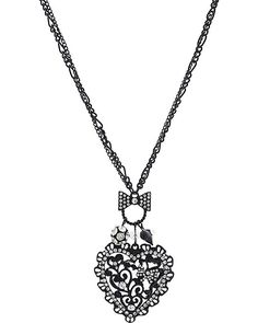 FILIGREE HEART PENDANT JET accessories jewelry necklaces fashion  by Betsey Johnson