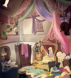 Tangled concept art - My girl's bedroom might end up looking like this.