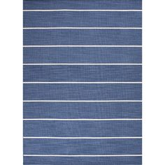 Anchor a breezy seating group or lend a pop of pattern to your master suite with this stylish woven rug, featuring a striped design in blue and ivory.