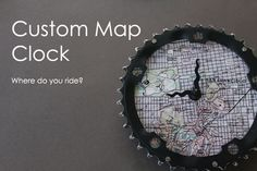 Clock made from upcycled bicycle parts and a background custom map
