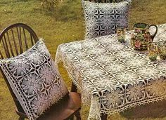 Crochet Throws: Tablecloth And Pillow Cover - Crochet Tablecloth Free Pattern - Gorgeous