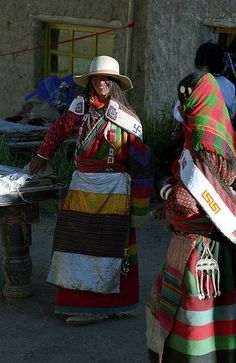 Asia: Tibetan nomads with braided hair