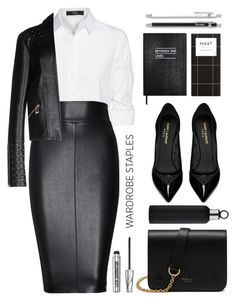 """""""Wardrobe staples: The White Shirt"""" by oleahg ❤ liked on Polyvore featuring Steffen Schraut, Bailey 44, Versace, Yves Saint Laurent, Sloane Stationery, blomus, Mulberry, Bare Escentuals, Unison and WardrobeStaples"""