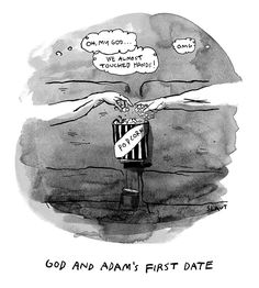 Publication: New YorkerImage Type: Cartoon Date: October 2018 Description: God And Adam's First Date God and Adam's hands nearly touch as they both grab from the tub of popcorn at the movie theater. History Cartoon, Art History, The Creation Of Adam, Framed Prints, Canvas Prints, Humor Grafico, First Dates, Print Magazine, Day For Night