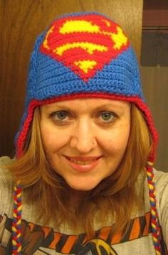 Free Crochet Superman Earflap Hat Pattern. This pattern is SUPER-awesome!  I love it!   -Lee Ann H
