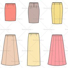 Women's Skirt Fashion Flat Template