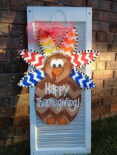 Turkey Door Hanger on Etsy, $45.00 This adorable turkey door hanger will brighten up your door for fall an Thanksgiving holidays. This little cutie is made out of wood and hand painted. It is approximately 22 inches wide and 24 inches tall.