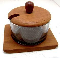 #Vintage Luthje Condiment Set #Denmark Danish Modern - #Teak Wood and Smoked Glass Jar boomerville at Etsy.com
