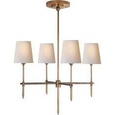 Visual Comfort TOB5002HAB-NP Thomas O'Brien Small Bryant 4 Light Chandelier Hand Rubbed Antique Brass with Natural Paper Shades