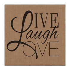 Live Love Laugh Burlap Canvas